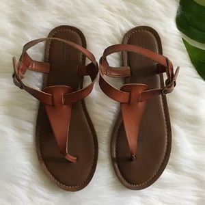 mossimo | brown leather sandals size 7